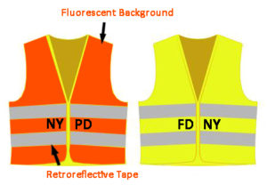Performance Class 2 Vests in Two Different Styles with Labels; Protecting against counterfeit